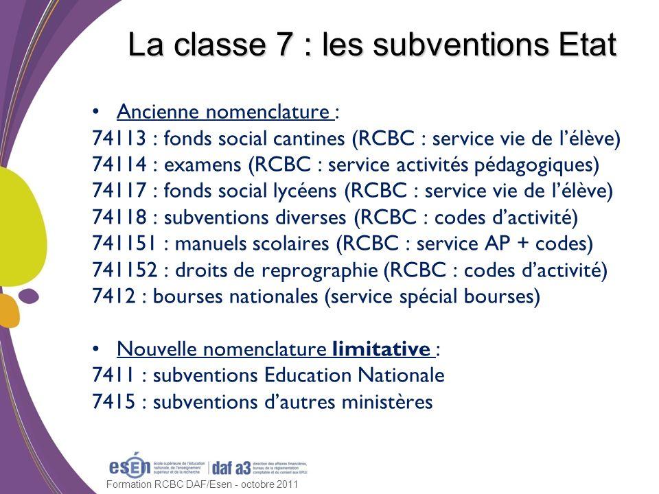 Formation RCBC DAF/Esen - octobre 2011 La classe 7 : les subventions Etat Ancienne nomenclature : 74113 : fonds social cantines (RCBC : service vie de