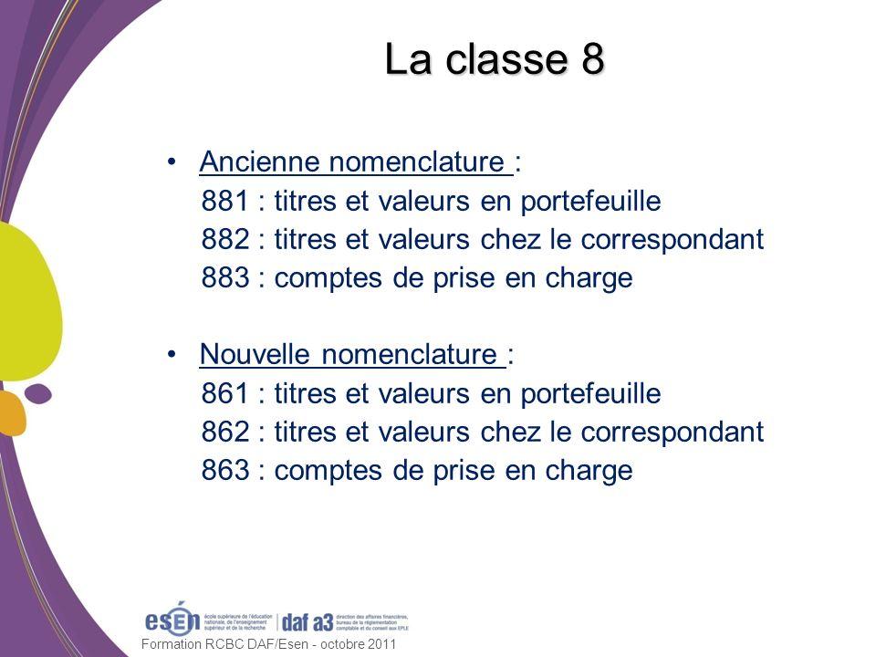 Formation RCBC DAF/Esen - octobre 2011 La classe 8 Ancienne nomenclature : 881 : titres et valeurs en portefeuille 882 : titres et valeurs chez le cor