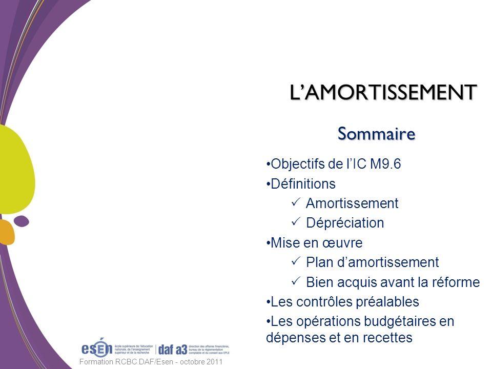 Sommaire Objectifs de lIC M9.6 Définitions Amortissement Dépréciation Mise en œuvre Plan damortissement Bien acquis avant la réforme Les contrôles pré