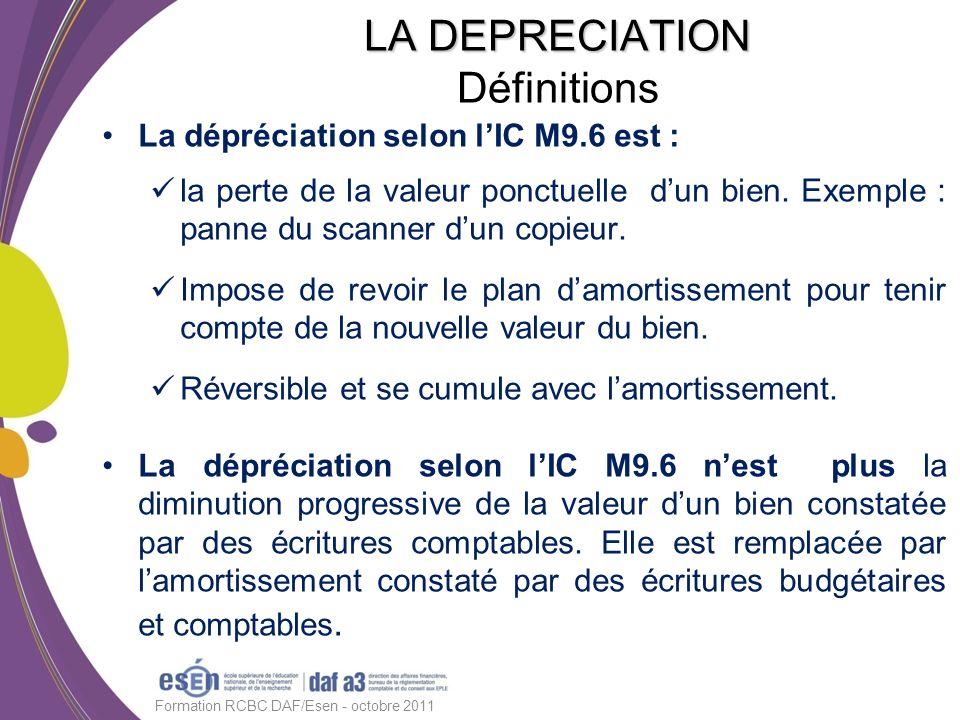 La dépréciation selon lIC M9.6 est : la perte de la valeur ponctuelle dun bien. Exemple : panne du scanner dun copieur. Impose de revoir le plan damor