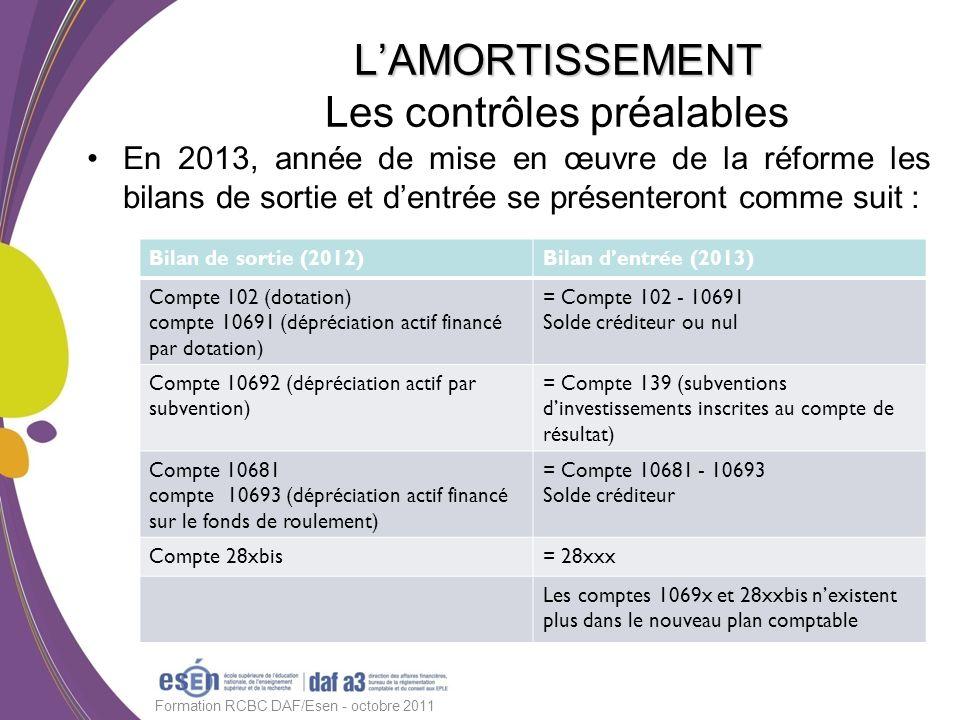 En 2013, année de mise en œuvre de la réforme les bilans de sortie et dentrée se présenteront comme suit : Formation RCBC DAF/Esen - octobre 2011 LAMO