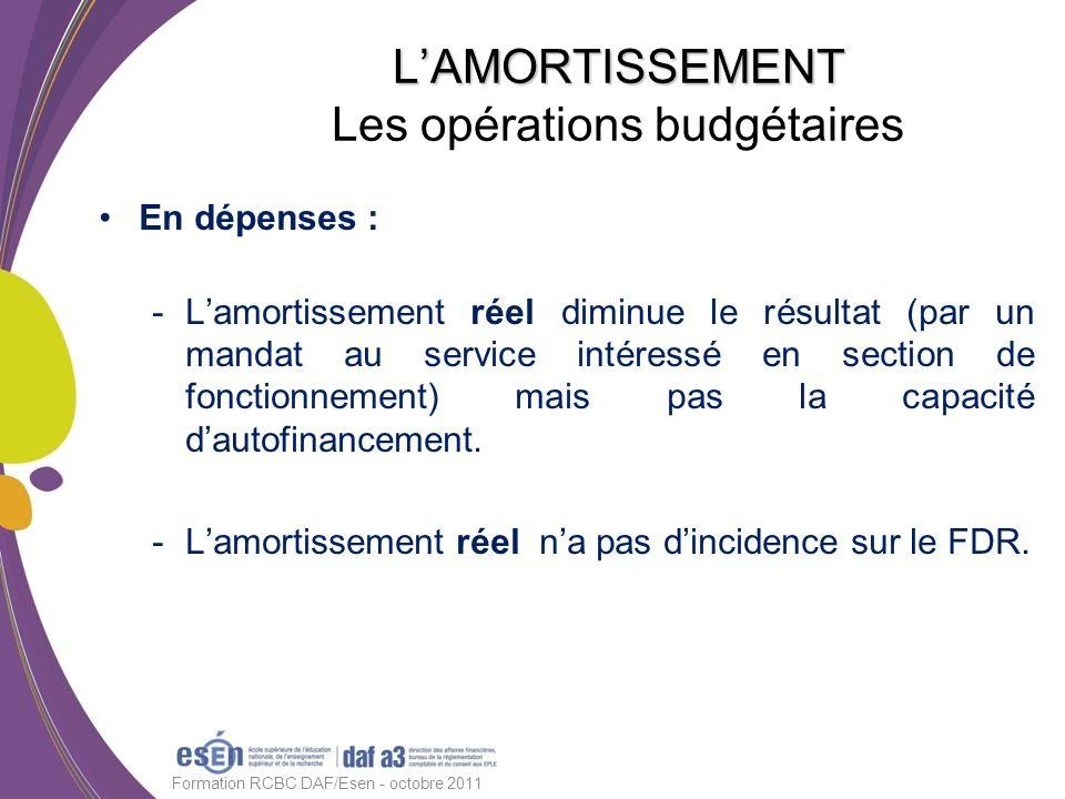 En dépenses : -Lamortissement réel diminue le résultat (par un mandat au service intéressé en section de fonctionnement) mais pas la capacité dautofin