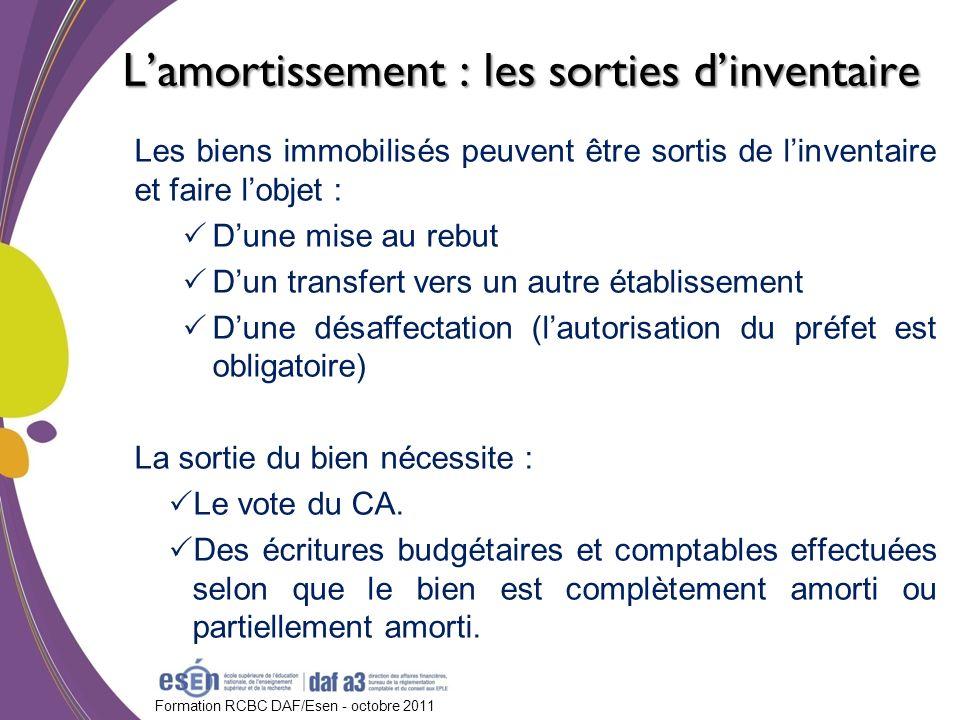 Formation RCBC DAF/Esen - octobre 2011 Lamortissement : les sorties dinventaire Les biens immobilisés peuvent être sortis de linventaire et faire lobj