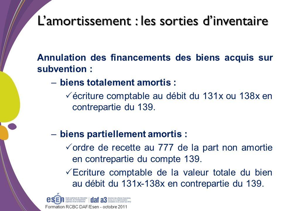 Formation RCBC DAF/Esen - octobre 2011 Annulation des financements des biens acquis sur subvention : –biens totalement amortis : écriture comptable au