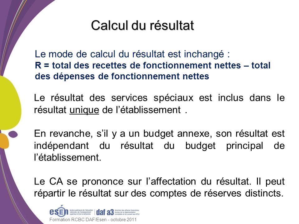 Formation RCBC DAF/Esen - octobre 2011 Calcul du résultat Le mode de calcul du résultat est inchangé : R = total des recettes de fonctionnement nettes