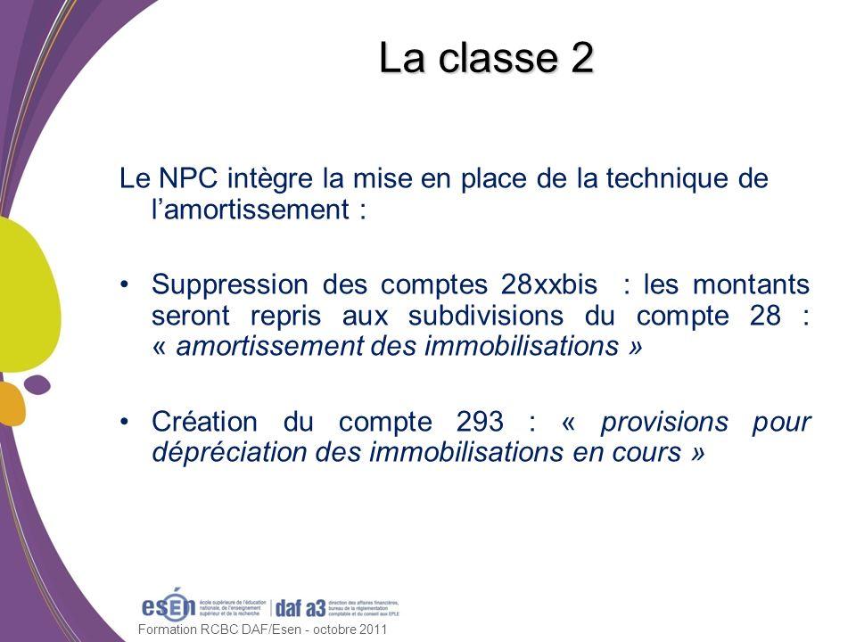 Formation RCBC DAF/Esen - octobre 2011 La classe 3 Rappel : les comptes de la classe 3 ne sont plus mouvementés directement par des opérations budgétaires (cf.