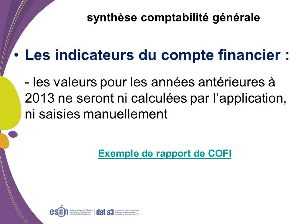 synthèse comptabilité générale Les indicateurs du compte financier : - les valeurs pour les années antérieures à 2013 ne seront ni calculées par lappl