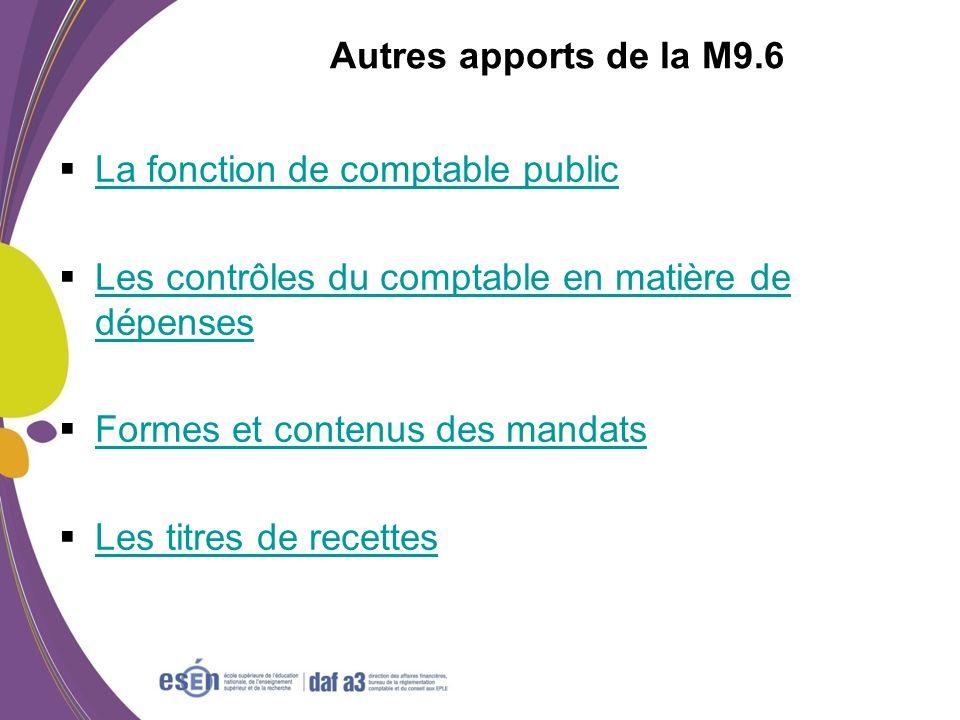 Autres apports de la M9.6 La fonction de comptable public Les contrôles du comptable en matière de dépenses Les contrôles du comptable en matière de d