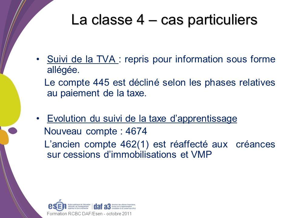 Formation RCBC DAF/Esen - octobre 2011 La classe 4 – cas particuliers Suivi de la TVA : repris pour information sous forme allégée. Le compte 445 est
