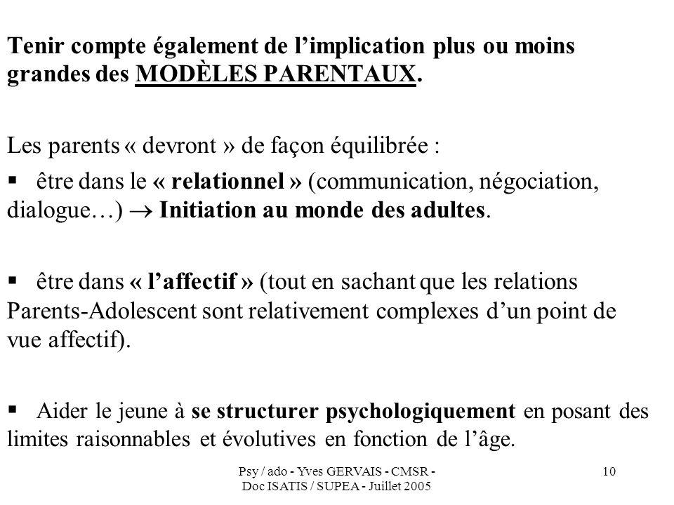 Psy / ado - Yves GERVAIS - CMSR - Doc ISATIS / SUPEA - Juillet 2005 10 Tenir compte également de limplication plus ou moins grandes des MODÈLES PARENT