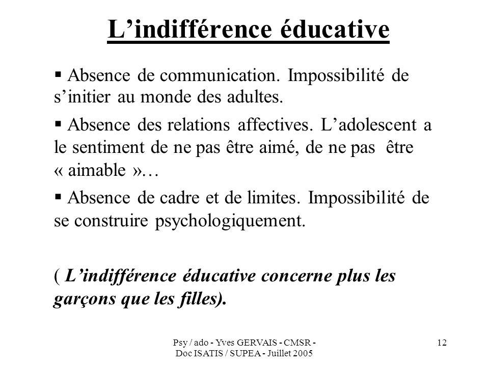 Psy / ado - Yves GERVAIS - CMSR - Doc ISATIS / SUPEA - Juillet 2005 12 Lindifférence éducative Absence de communication. Impossibilité de sinitier au