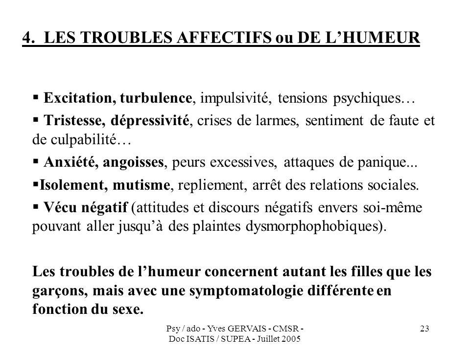 Psy / ado - Yves GERVAIS - CMSR - Doc ISATIS / SUPEA - Juillet 2005 23 1.4. LES TROUBLES AFFECTIFS ou DE LHUMEUR Excitation, turbulence, impulsivité,