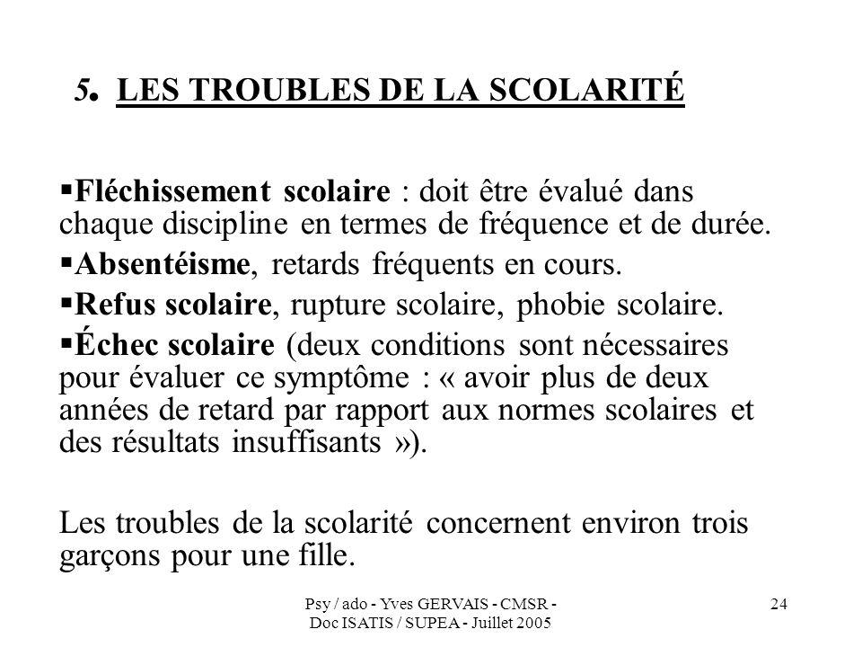 Psy / ado - Yves GERVAIS - CMSR - Doc ISATIS / SUPEA - Juillet 2005 24 5. LES TROUBLES DE LA SCOLARITÉ Fléchissement scolaire : doit être évalué dans