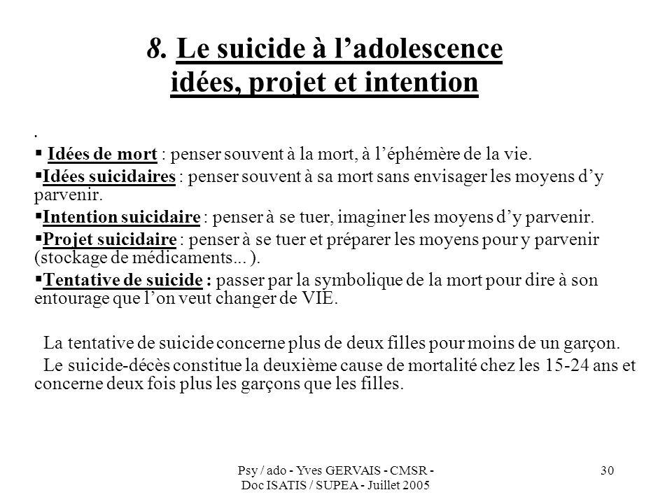 Psy / ado - Yves GERVAIS - CMSR - Doc ISATIS / SUPEA - Juillet 2005 30 8. Le suicide à ladolescence idées, projet et intention Idées de mort : penser