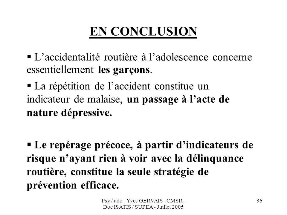 Psy / ado - Yves GERVAIS - CMSR - Doc ISATIS / SUPEA - Juillet 2005 36 EN CONCLUSION Laccidentalité routière à ladolescence concerne essentiellement l