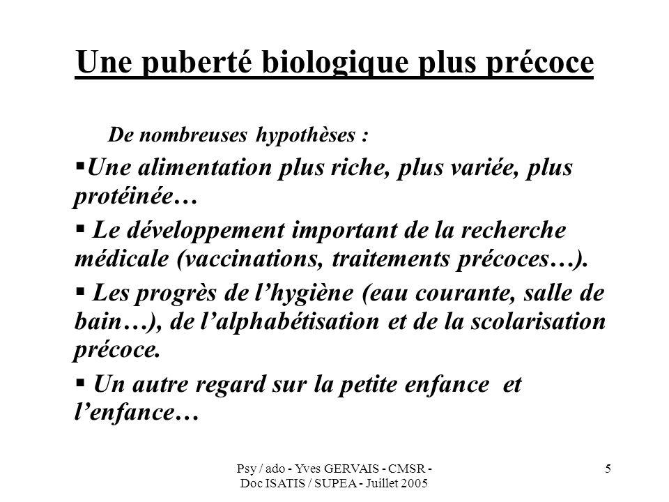 Psy / ado - Yves GERVAIS - CMSR - Doc ISATIS / SUPEA - Juillet 2005 5 Une puberté biologique plus précoce De nombreuses hypothèses : Une alimentation