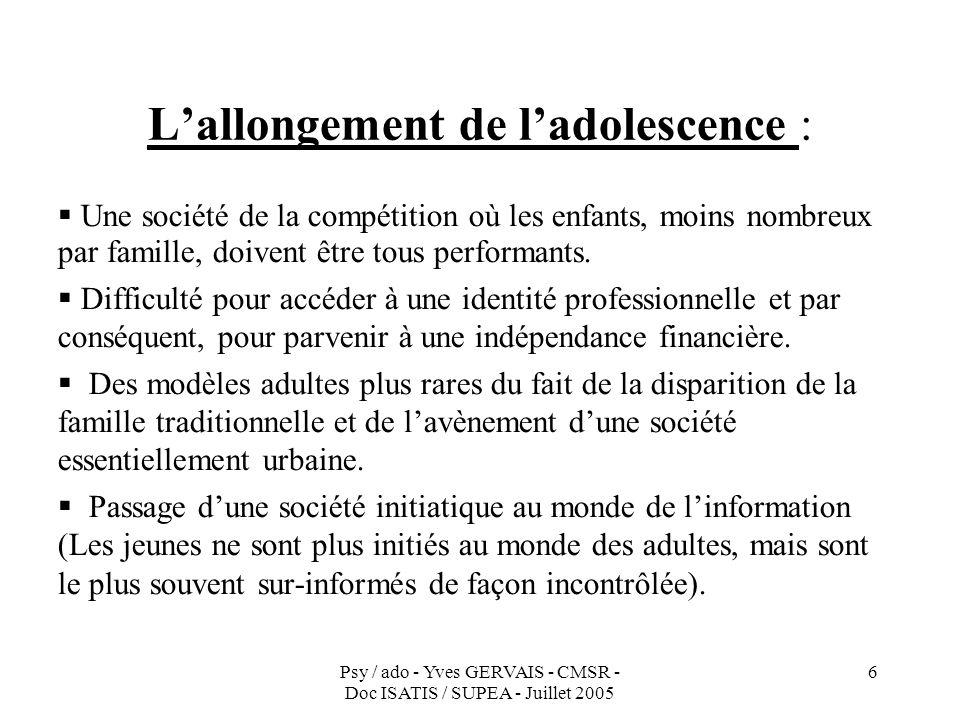 Psy / ado - Yves GERVAIS - CMSR - Doc ISATIS / SUPEA - Juillet 2005 6 Lallongement de ladolescence : Une société de la compétition où les enfants, moi