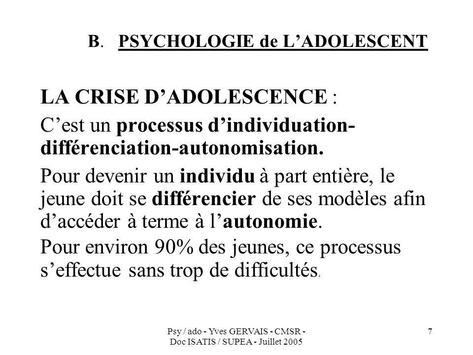 Psy / ado - Yves GERVAIS - CMSR - Doc ISATIS / SUPEA - Juillet 2005 7 B. PSYCHOLOGIE de LADOLESCENT LA CRISE DADOLESCENCE : Cest un processus dindivid