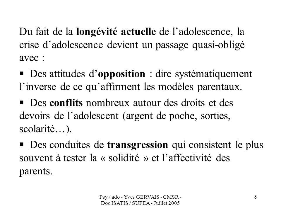Psy / ado - Yves GERVAIS - CMSR - Doc ISATIS / SUPEA - Juillet 2005 8 Du fait de la longévité actuelle de ladolescence, la crise dadolescence devient
