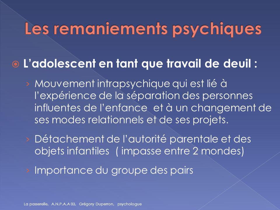 Ladolescent en tant que travail de deuil : Mouvement intrapsychique qui est lié à lexpérience de la séparation des personnes influentes de lenfance et