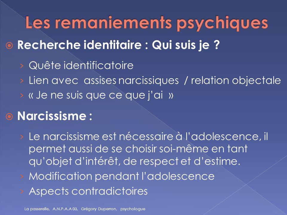 Recherche identitaire : Qui suis je ? Quête identificatoire Lien avec assises narcissiques / relation objectale « Je ne suis que ce que jai » Narcissi