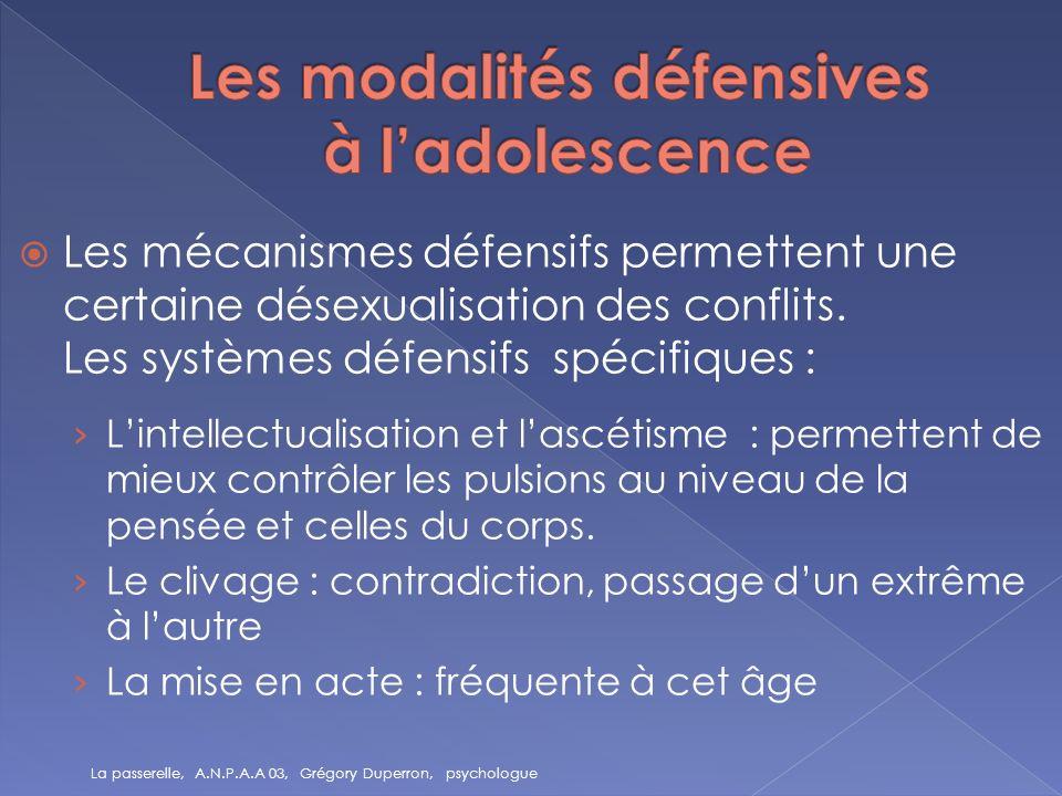Les mécanismes défensifs permettent une certaine désexualisation des conflits. Les systèmes défensifs spécifiques : Lintellectualisation et lascétisme