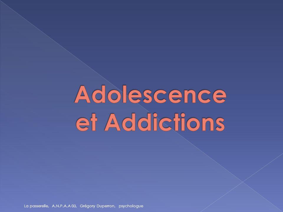La plus part des addictions débute à ladolescence.