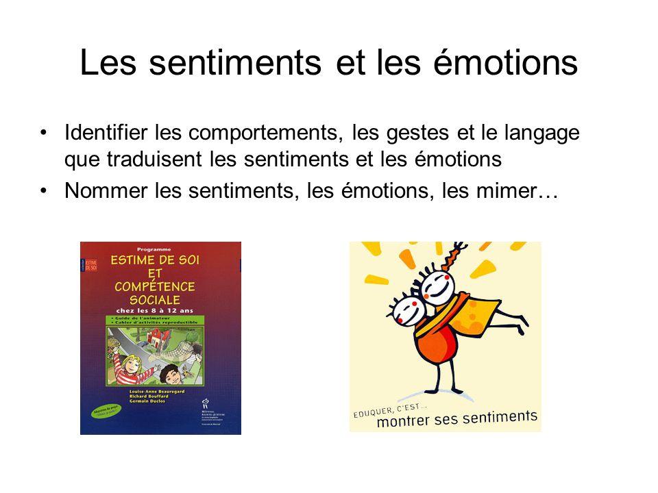 Les sentiments et les émotions Identifier les comportements, les gestes et le langage que traduisent les sentiments et les émotions Nommer les sentime