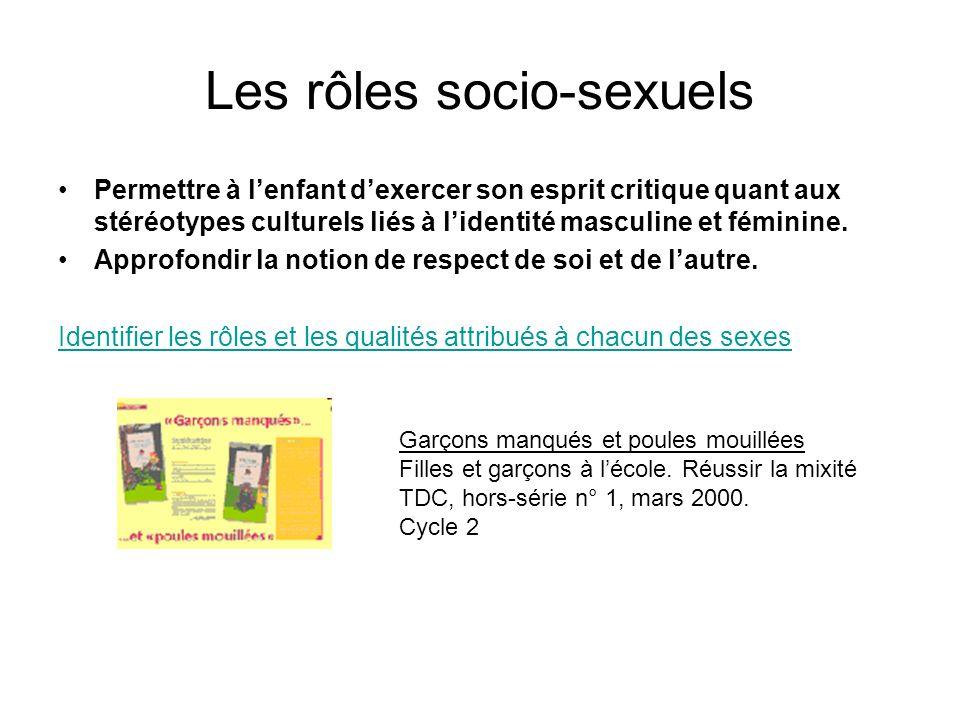 Les rôles socio-sexuels Permettre à lenfant dexercer son esprit critique quant aux stéréotypes culturels liés à lidentité masculine et féminine. Appro