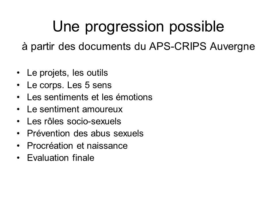 Une progression possible à partir des documents du APS-CRIPS Auvergne Le projets, les outils Le corps. Les 5 sens Les sentiments et les émotions Le se