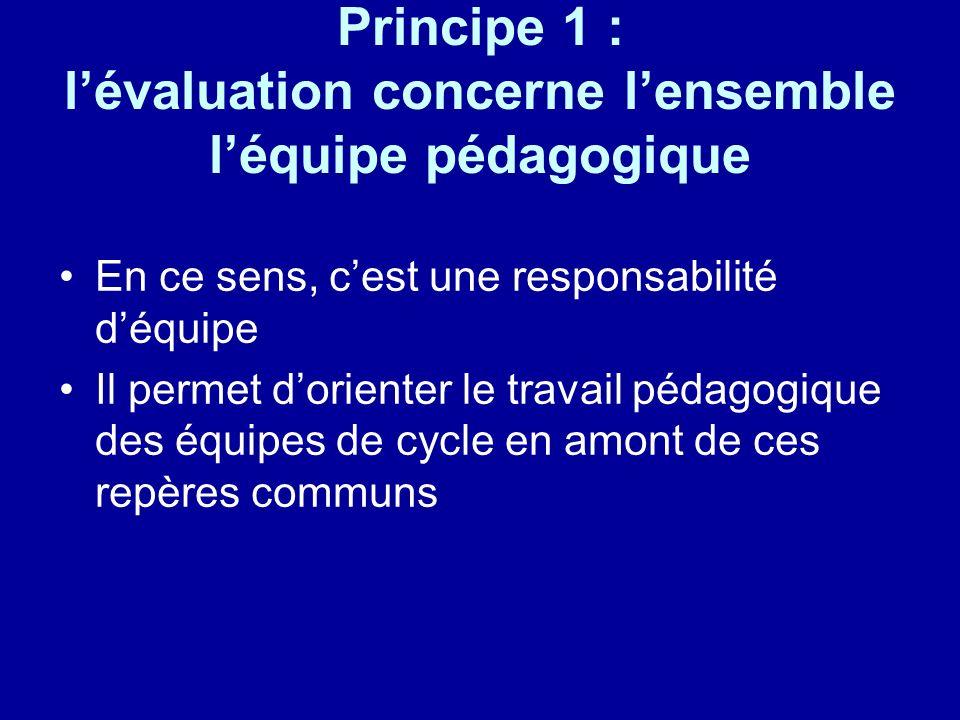 Principe 1 : lévaluation concerne lensemble léquipe pédagogique En ce sens, cest une responsabilité déquipe Il permet dorienter le travail pédagogique des équipes de cycle en amont de ces repères communs