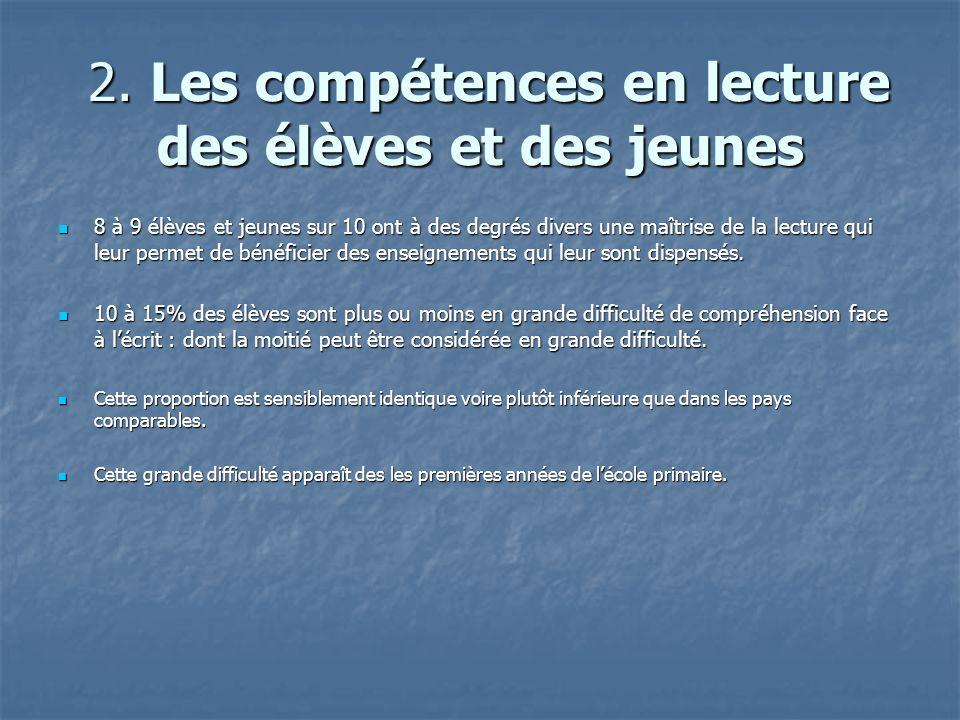 2. Les compétences en lecture des élèves et des jeunes 2.