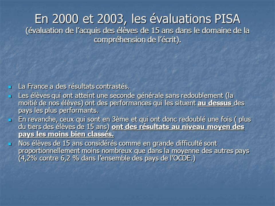 En 2000 et 2003, les évaluations PISA (évaluation de lacquis des élèves de 15 ans dans le domaine de la compréhension de lécrit).