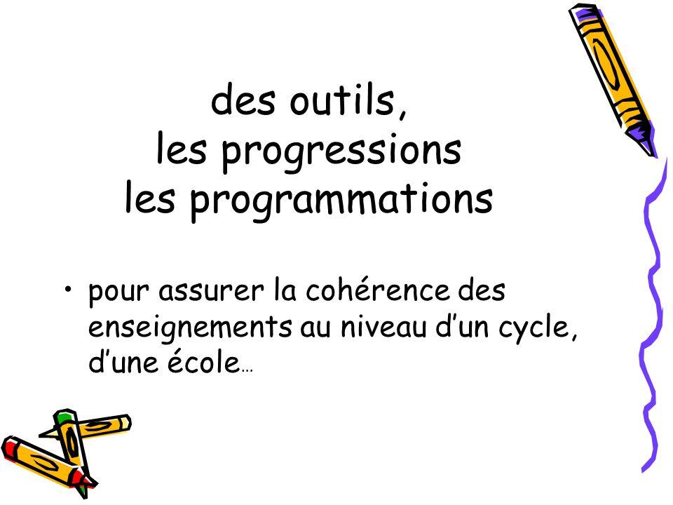 pour assurer la cohérence des enseignements au niveau dun cycle, dune école … des outils, les progressions les programmations