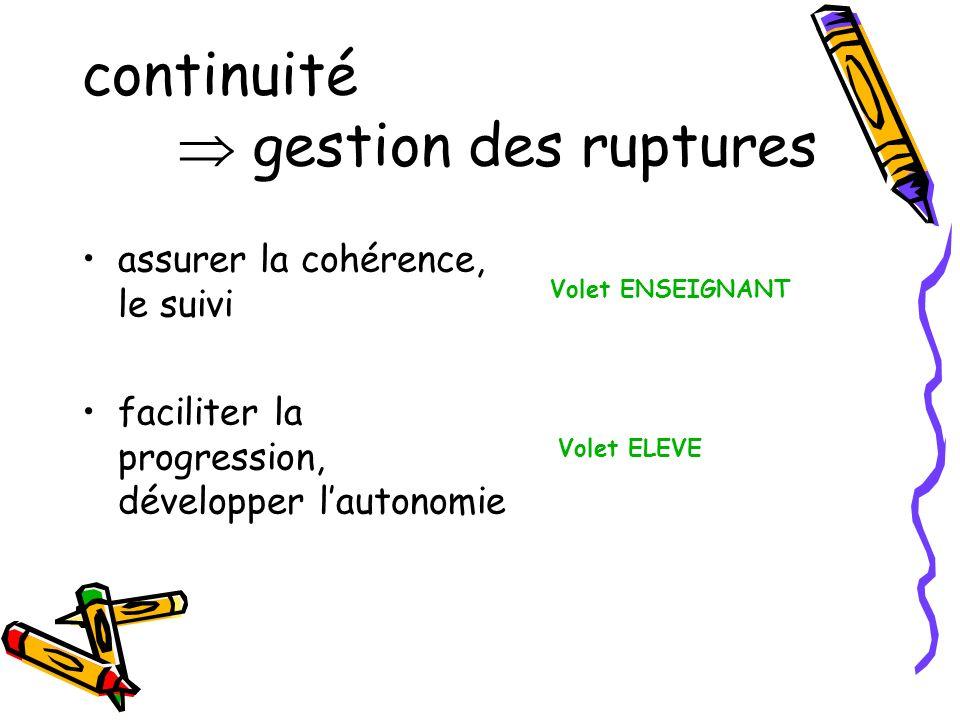 assurer la continuité : des outils et des démarches quels outils, quelles démarches, pour assurer la continuité .