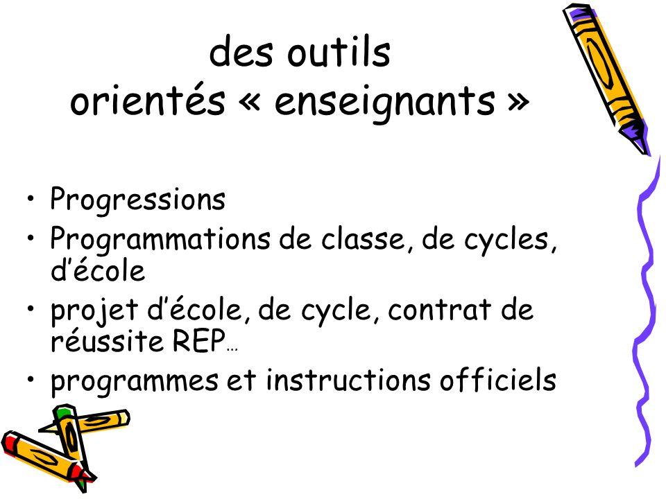 des outils orientés « enseignants » Progressions Programmations de classe, de cycles, décole projet décole, de cycle, contrat de réussite REP … programmes et instructions officiels