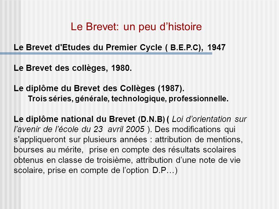 Le Brevet: un peu dhistoire Le Brevet d Etudes du Premier Cycle ( B.E.P.C ), 1947 Le Brevet des collèges, 1980.