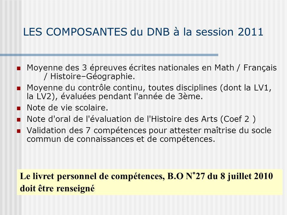 LES COMPOSANTES du DNB à la session 2011 Moyenne des 3 épreuves écrites nationales en Math / Français / Histoire–Géographie.