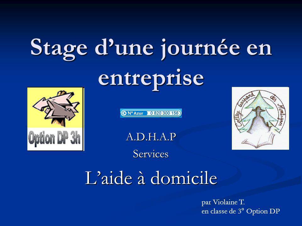 Stage dune journée en entreprise A.D.H.A.PServices Laide à domicile par Violaine T. en classe de 3° Option DP