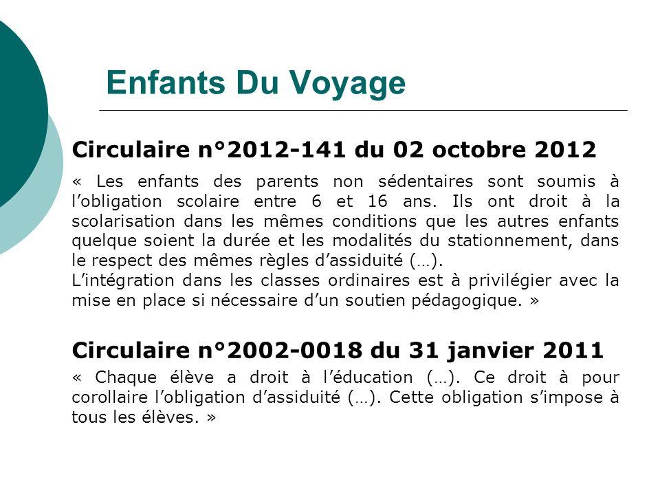 Enfants Du Voyage Circulaire n°2012-141 du 02 octobre 2012 « Les enfants des parents non sédentaires sont soumis à lobligation scolaire entre 6 et 16