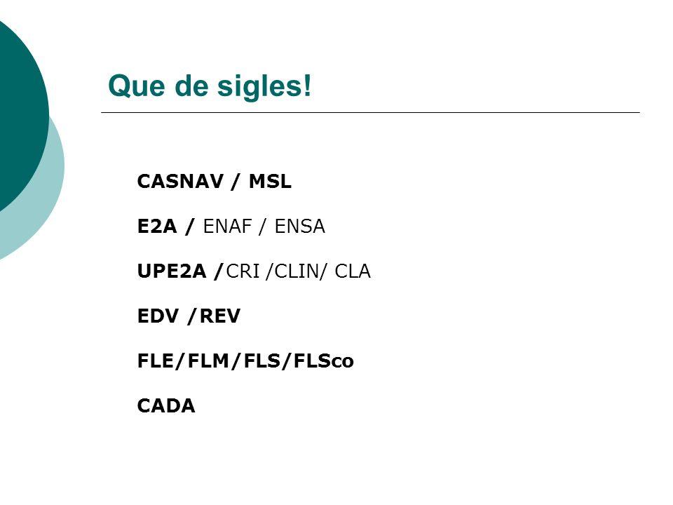 Que de sigles! CASNAV / MSL E2A / ENAF / ENSA UPE2A /CRI /CLIN/ CLA EDV /REV FLE/FLM/FLS/FLSco CADA