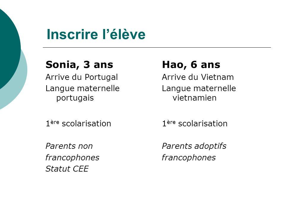 Inscrire lélève Sonia, 3 ans Arrive du Portugal Langue maternelle portugais 1 ère scolarisation Parents non francophones Statut CEE Hao, 6 ans Arrive