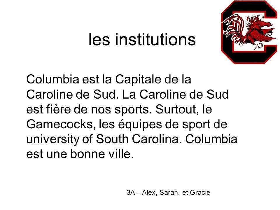les institutions Columbia est la Capitale de la Caroline de Sud.