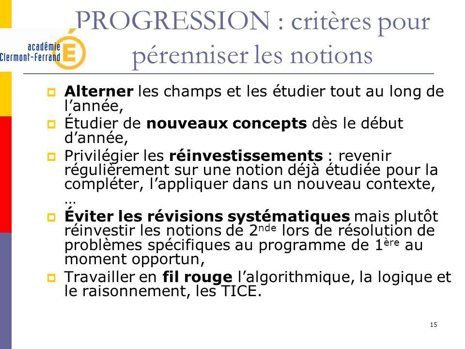 15 PROGRESSION : critères pour pérenniser les notions Alterner les champs et les étudier tout au long de lannée, Étudier de nouveaux concepts dès le d