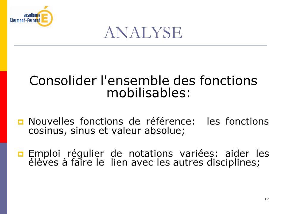 17 ANALYSE Consolider l'ensemble des fonctions mobilisables: Nouvelles fonctions de référence: les fonctions cosinus, sinus et valeur absolue; Emploi