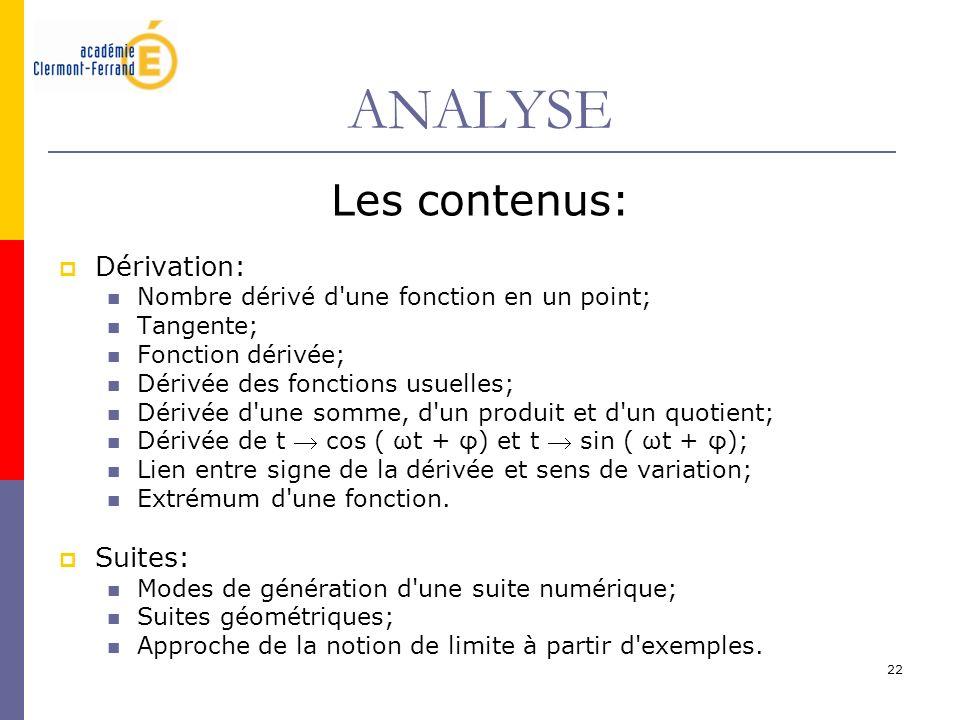 22 ANALYSE Les contenus: Dérivation: Nombre dérivé d'une fonction en un point; Tangente; Fonction dérivée; Dérivée des fonctions usuelles; Dérivée d'u