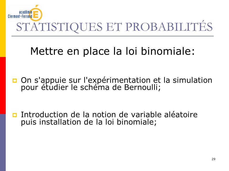 29 STATISTIQUES ET PROBABILITÉS Mettre en place la loi binomiale: On s'appuie sur l'expérimentation et la simulation pour étudier le schéma de Bernoul