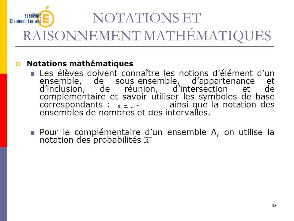 35 NOTATIONS ET RAISONNEMENT MATHÉMATIQUES Notations mathématiques Les élèves doivent connaître les notions délément dun ensemble, de sous-ensemble, d