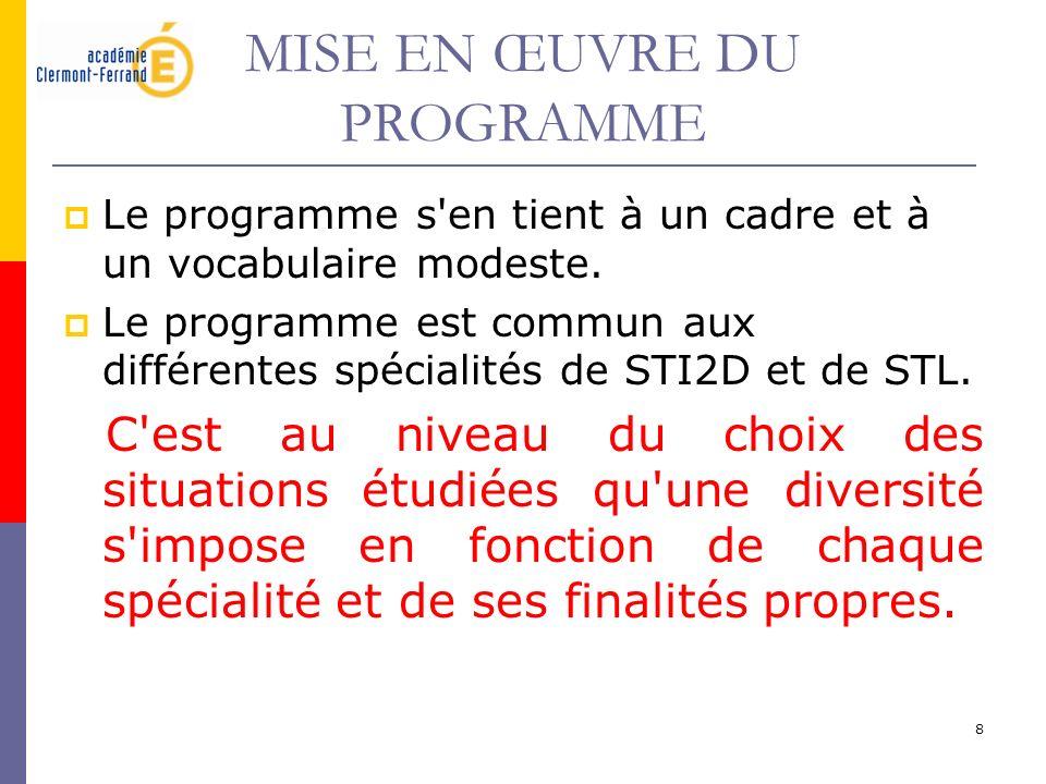 8 MISE EN ŒUVRE DU PROGRAMME Le programme s'en tient à un cadre et à un vocabulaire modeste. Le programme est commun aux différentes spécialités de ST