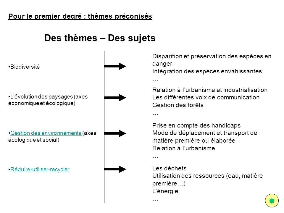 Biodiversité Lévolution des paysages (axes économique et écologique) Gestion des environnements (axes écologique et social)Gestion des environnements